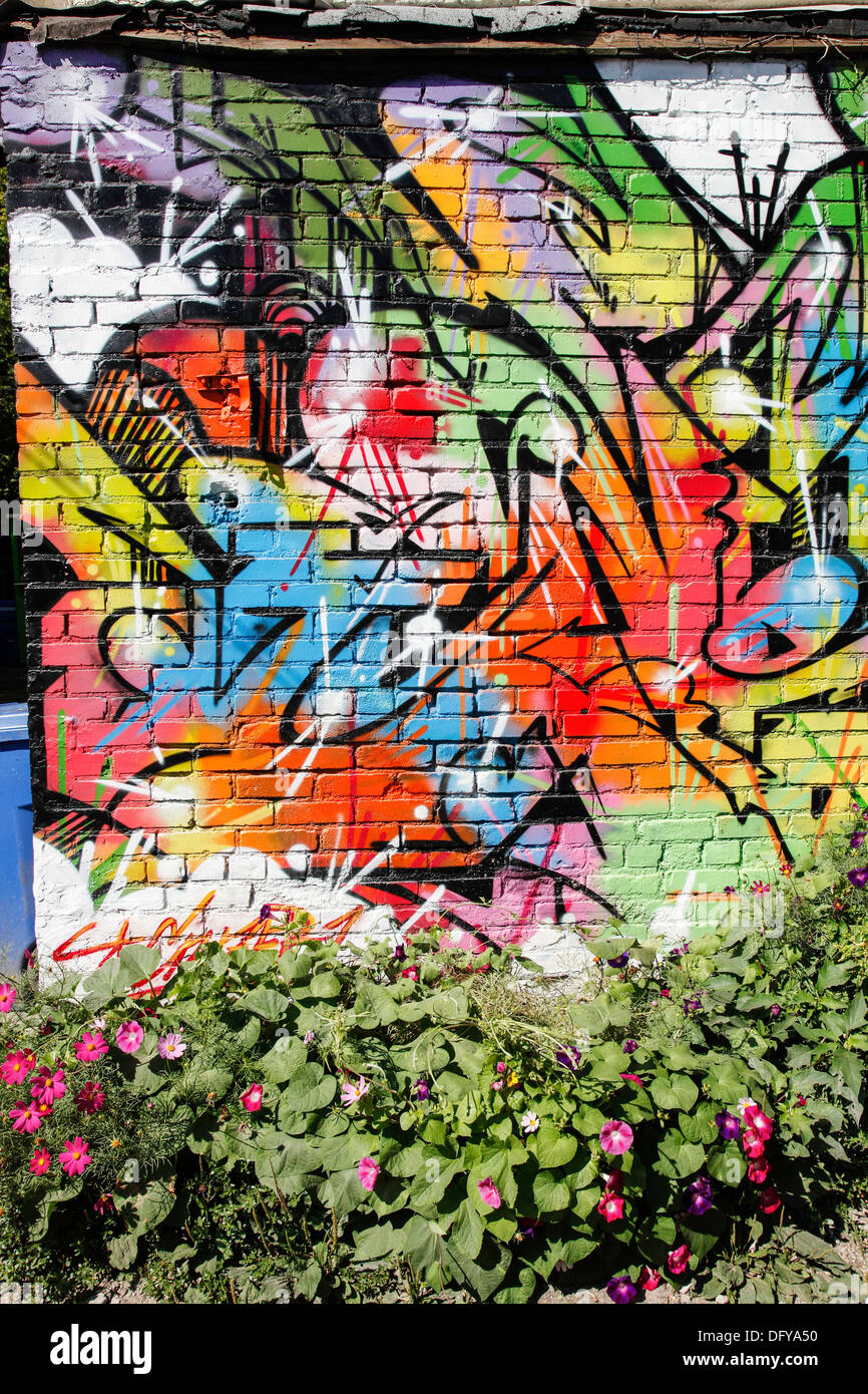 Graffiti And Wall Art As Decoration And Art Deco On Outdoor Wall In