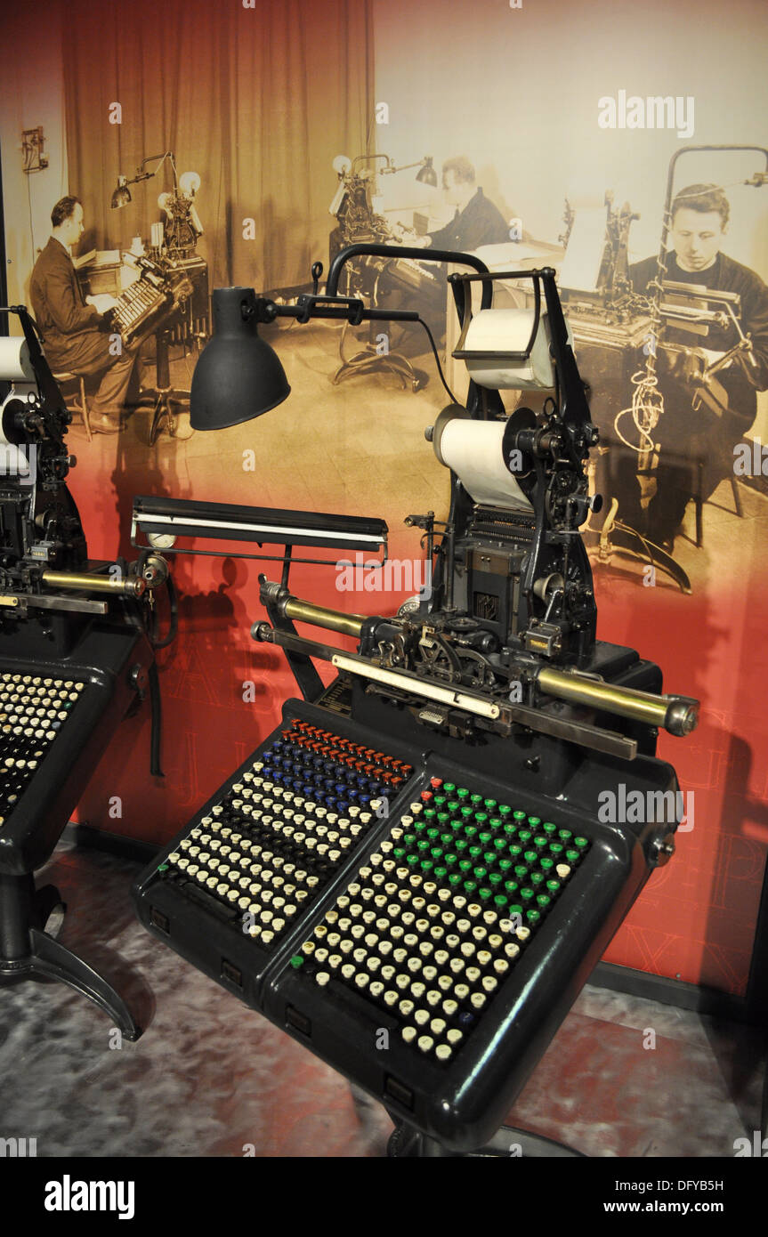 Bologna (Italy): typography machines at Museo del Patrimonio Industriale (Museum of the Industrial Heritage) - Stock Image