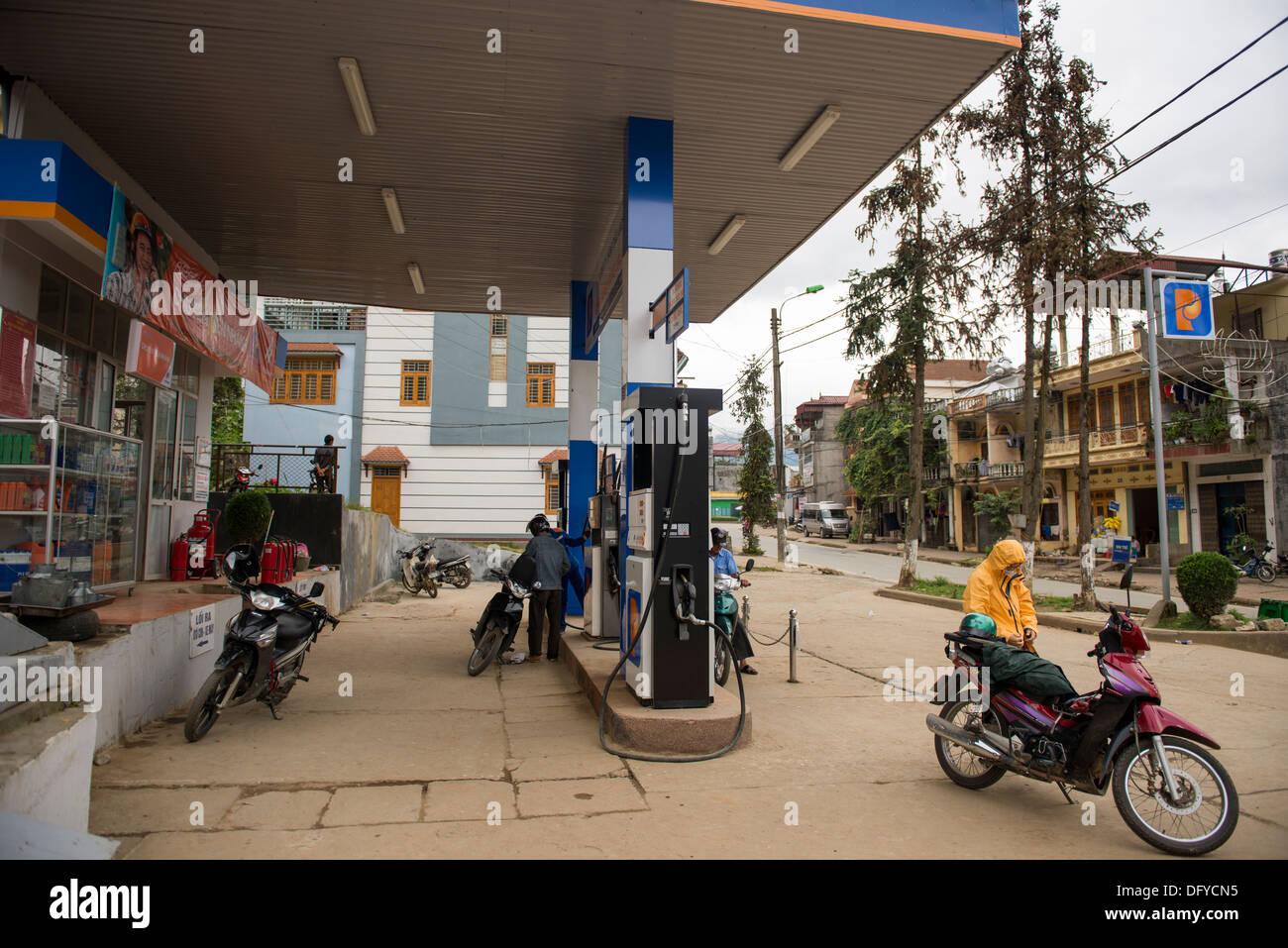 Petrol Station in Sa Pa downtown, Sa Pa , Lao Cai, Vietnam - Stock Image