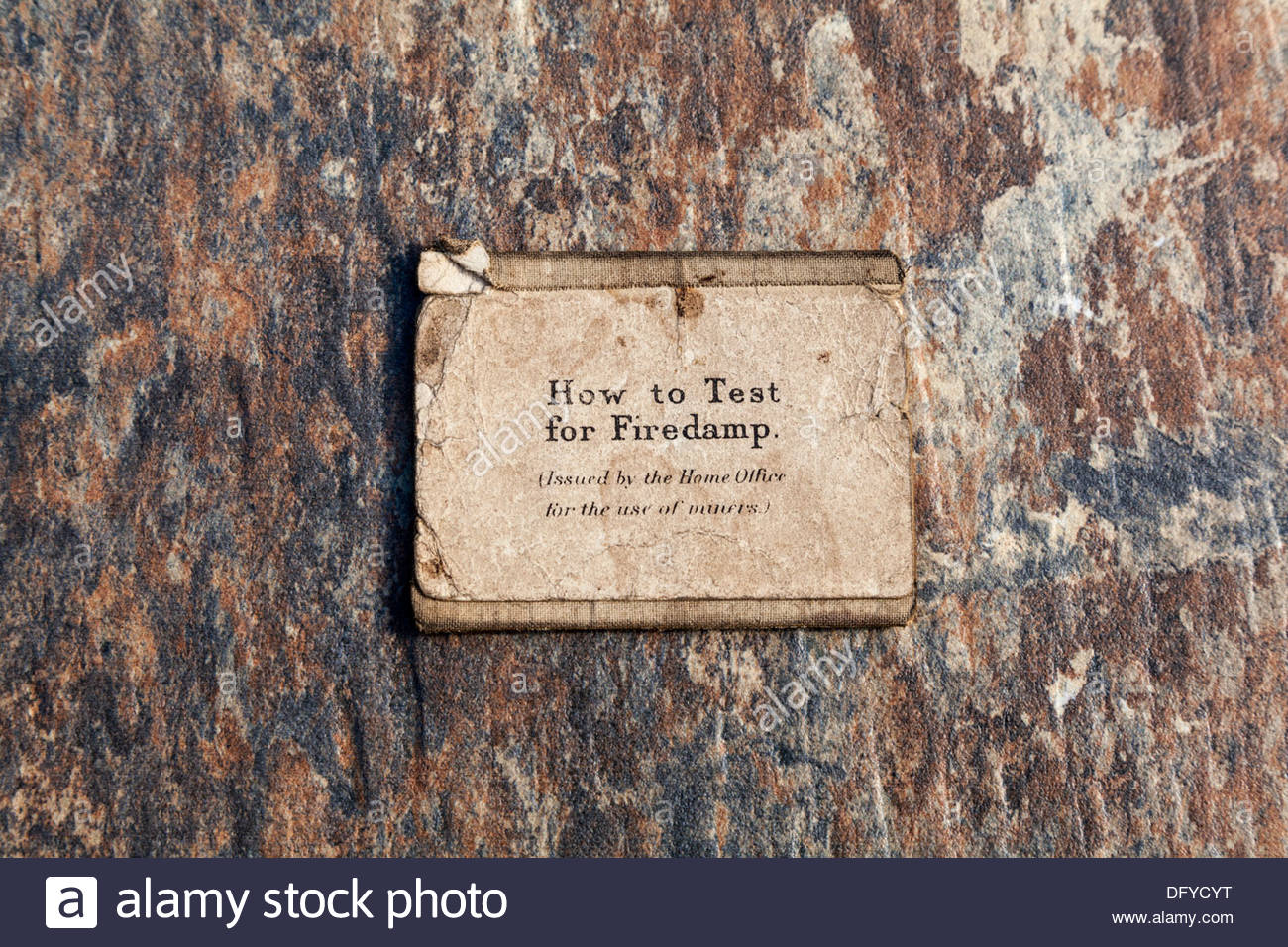 How to test for Firedamp - Instructions for miners - Stock Image