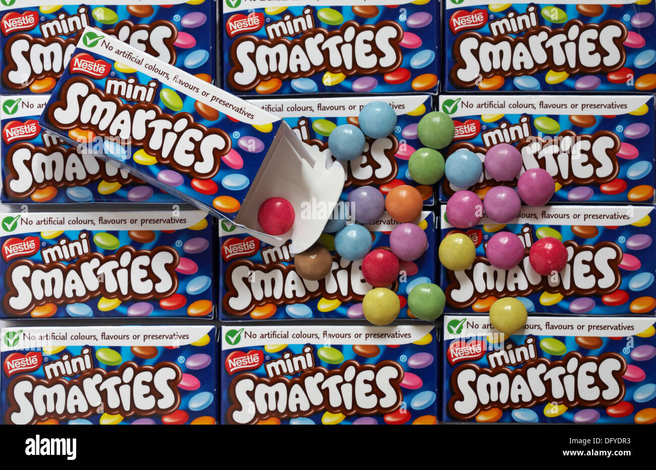 Mini In De Box.Boxes Of Treat Size Nestle Mini Smarties With Box Undone To Show