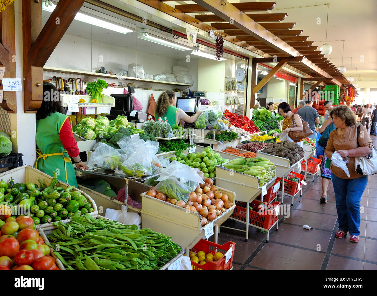 The indoor fruit and vegetable market Mercado dos Lavradores Funchal, Madeira Portugal - Stock Image