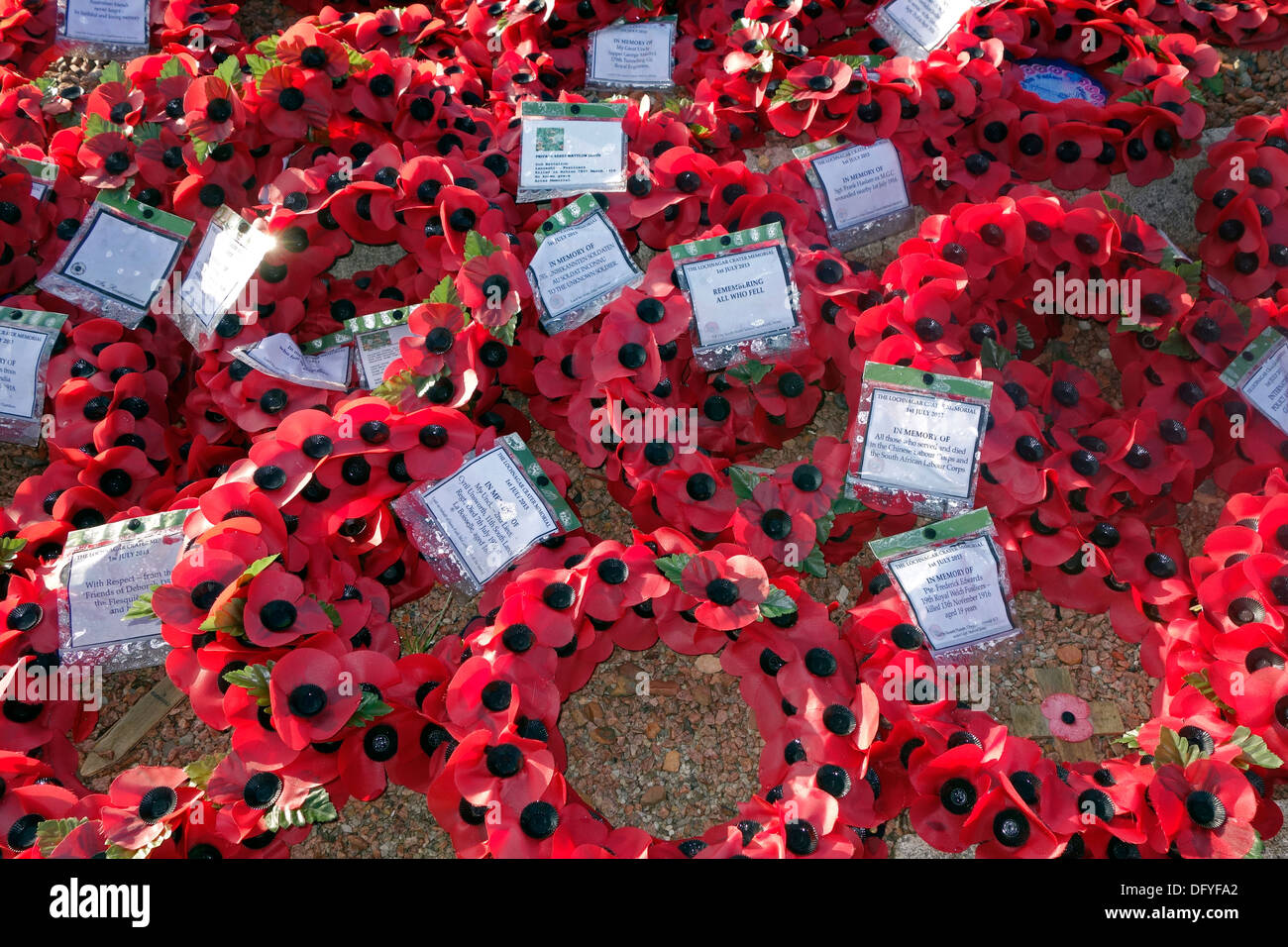 British red poppy wreaths at First World War One monument at WW1 battlefield of the Battle of the Somme, Picardy, France - Stock Image