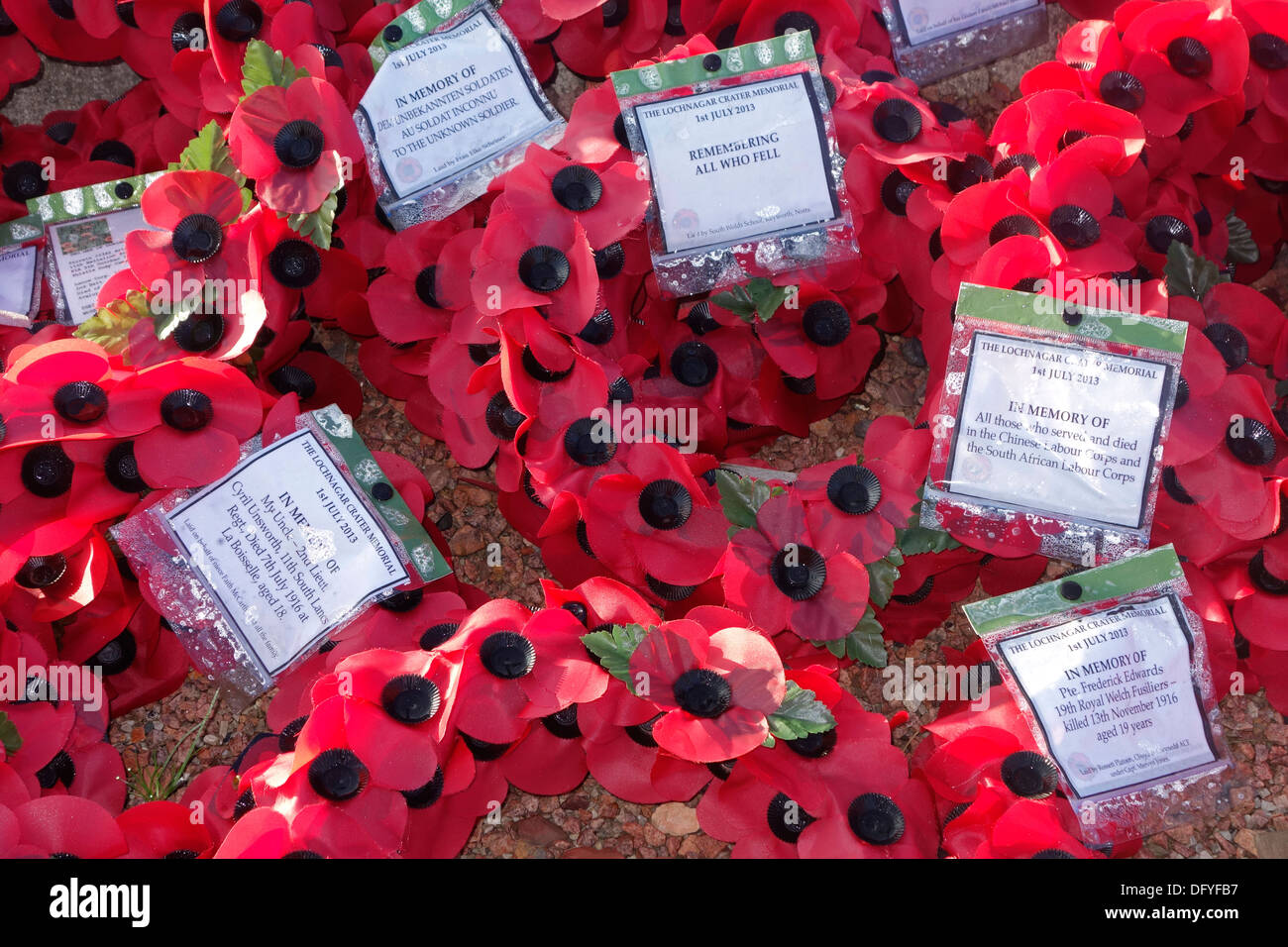 British red poppy wreaths at First World War One monument at WWI battlefield of the Battle of the Somme, Picardy, France - Stock Image