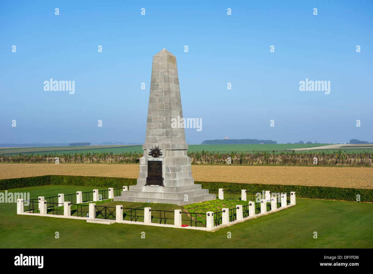 World War One First Australian Division memorial at the Pozières Ridge, WWI Battle of the Somme, Picardy, France - Stock Image