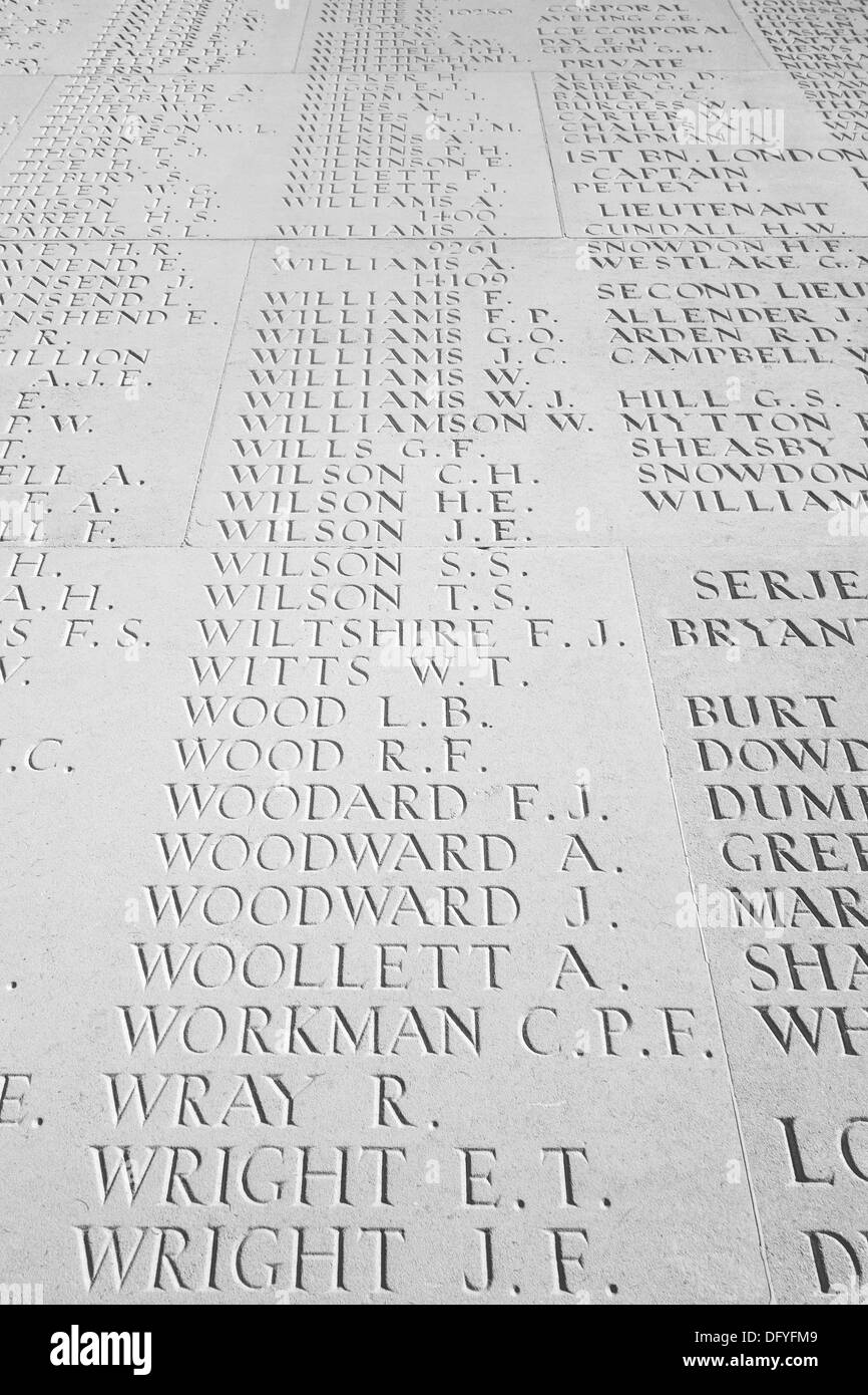 Names of missing First World War One soldiers of the WW1 British Armies, Battle of the Somme, Thiepval Memorial, Picardy, France - Stock Image