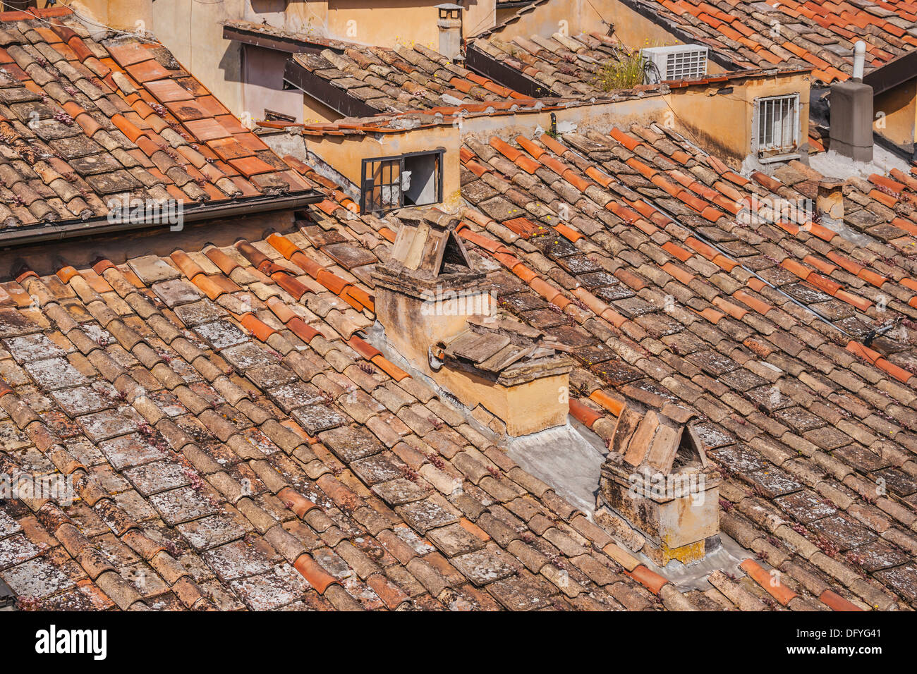 Tiled roofs in the in the old town of Rome, Lazio, Italy, Europe - Stock Image