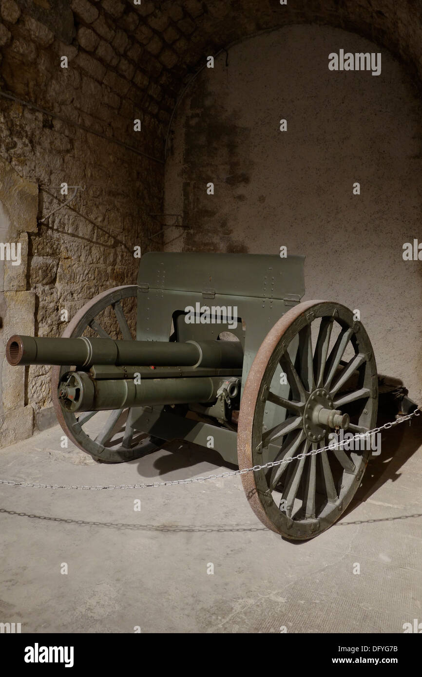 Russian First World War One field gun 76.2 mm divisional gun model 1902, Fort de la Pompelle / WWI Fort Herbillon, Marne, France - Stock Image
