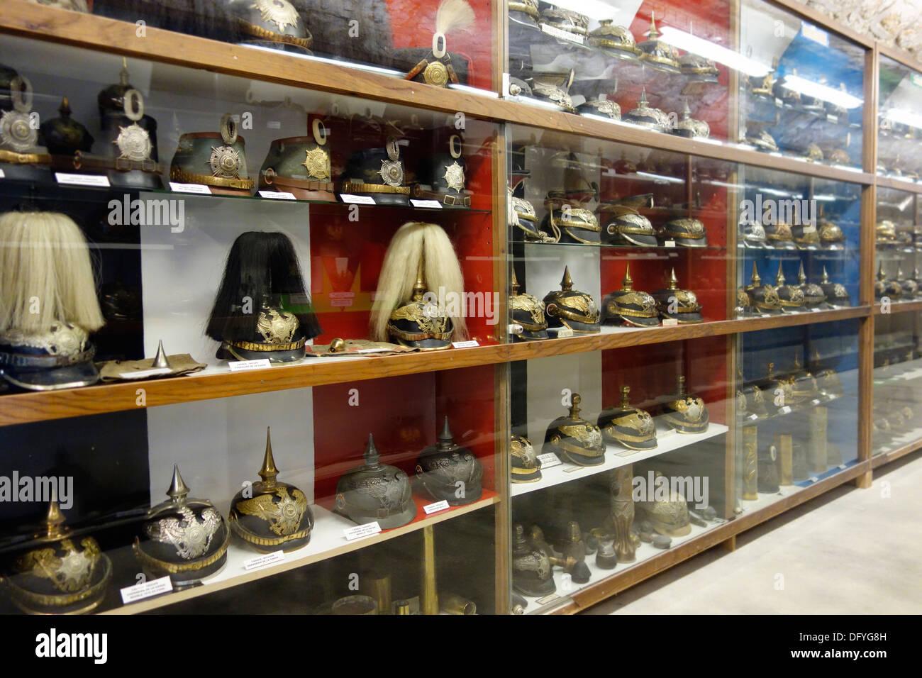 First World War One German army headgear collection at WWI Fort de la Pompelle, battle of the Marne, Puisieulx, Reims, France - Stock Image