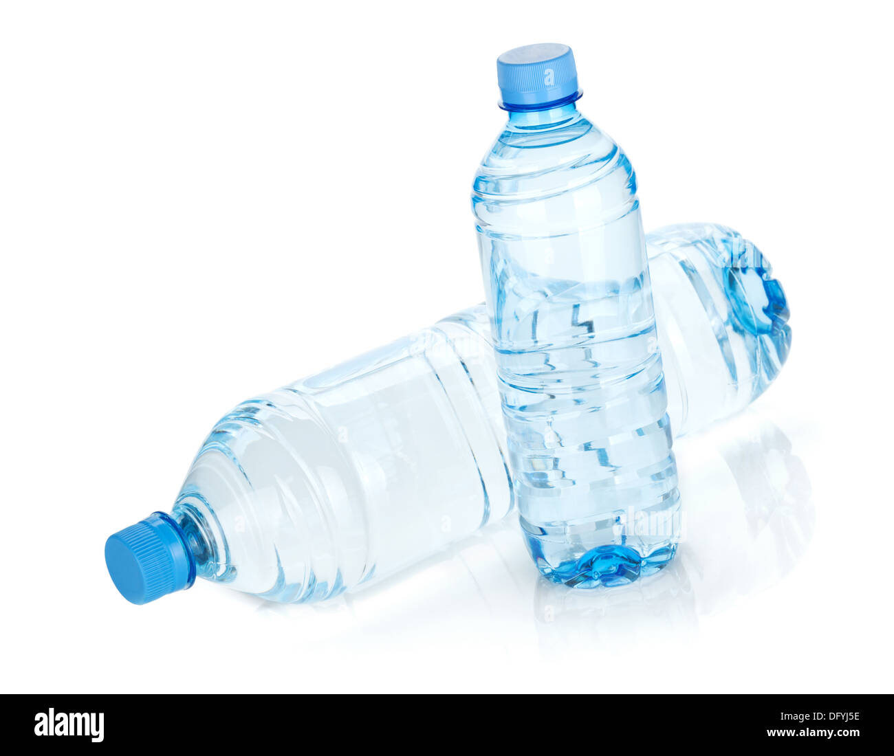 Two water bottles. Isolated on white background - Stock Image