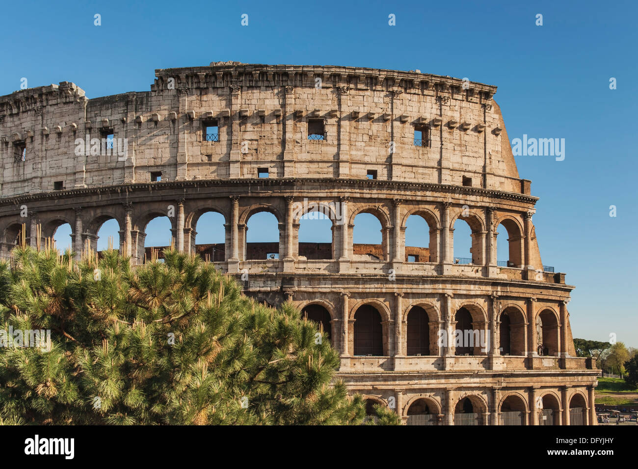 The Colosseum is the largest amphitheater built in ancient Rome from 72 to 80 AD, Rome, Lazio, Italy, Europe Stock Photo
