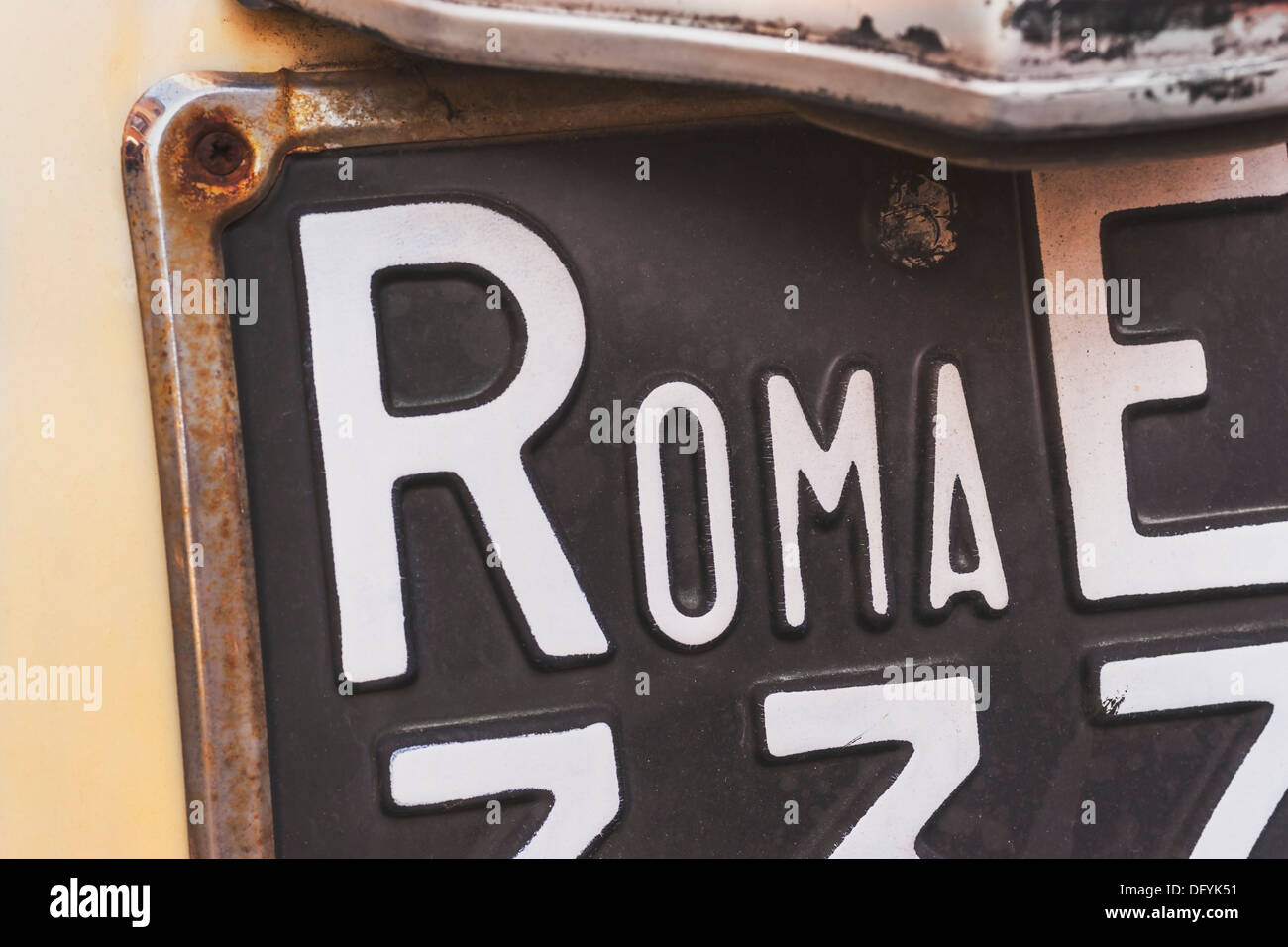 Partial view of the back of a old Fiat Nuova 500 (built from 1957-1977) with a black number plate, Rome, Lazio, Italy, Europe - Stock Image