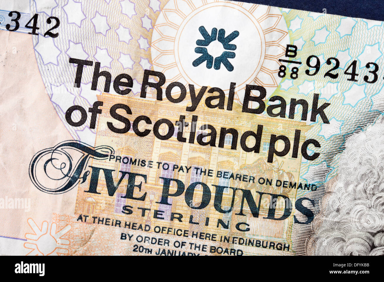 Close up of a Scottish five pound sterling note issued by the Royal Bank of Scotland Stock Photo