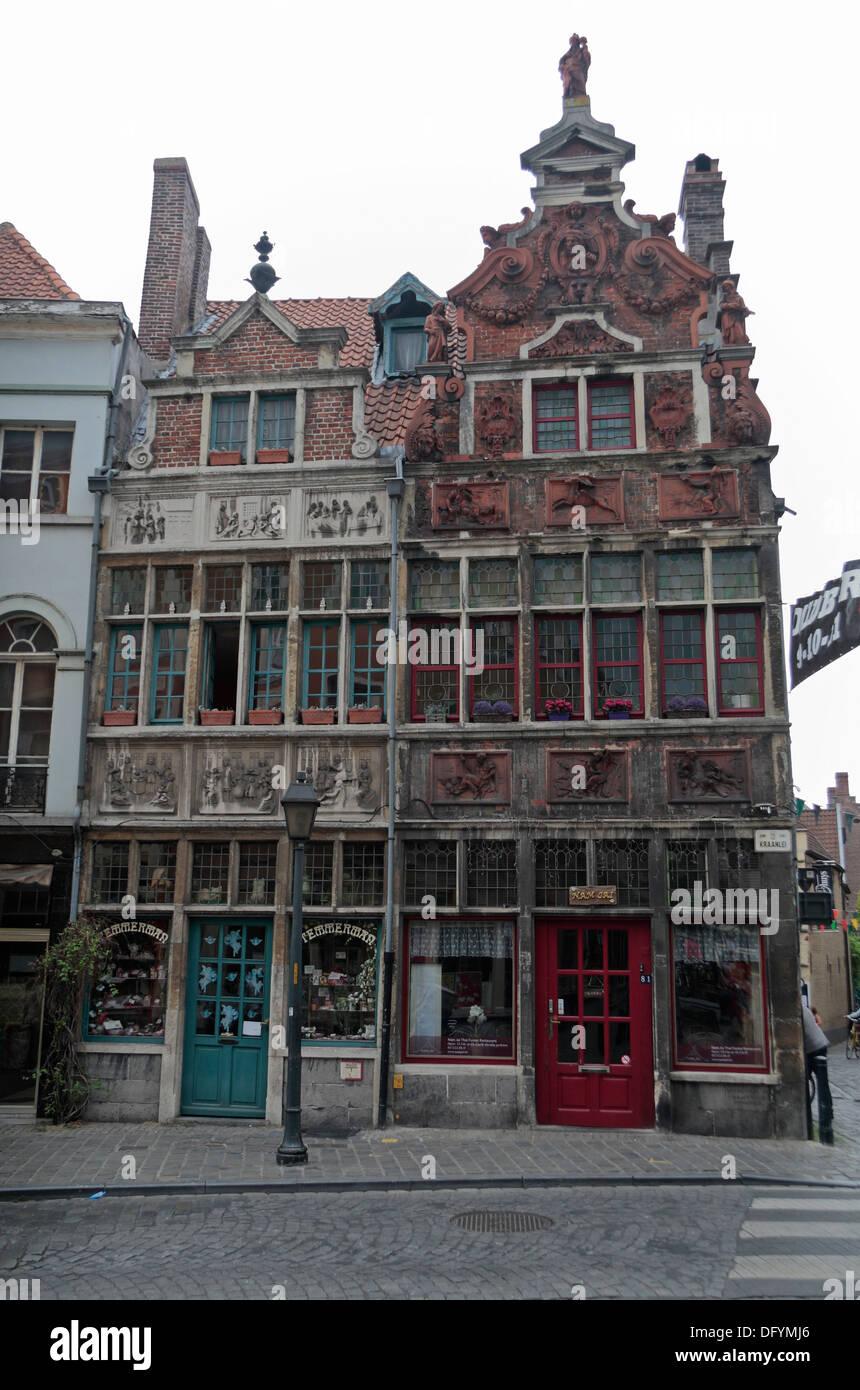 The Temmerman sweet shop & Nam Jai Thai Fusion Restaurant on Kraanlei, Ghent (Gent), East Flanders, Belgium. - Stock Image