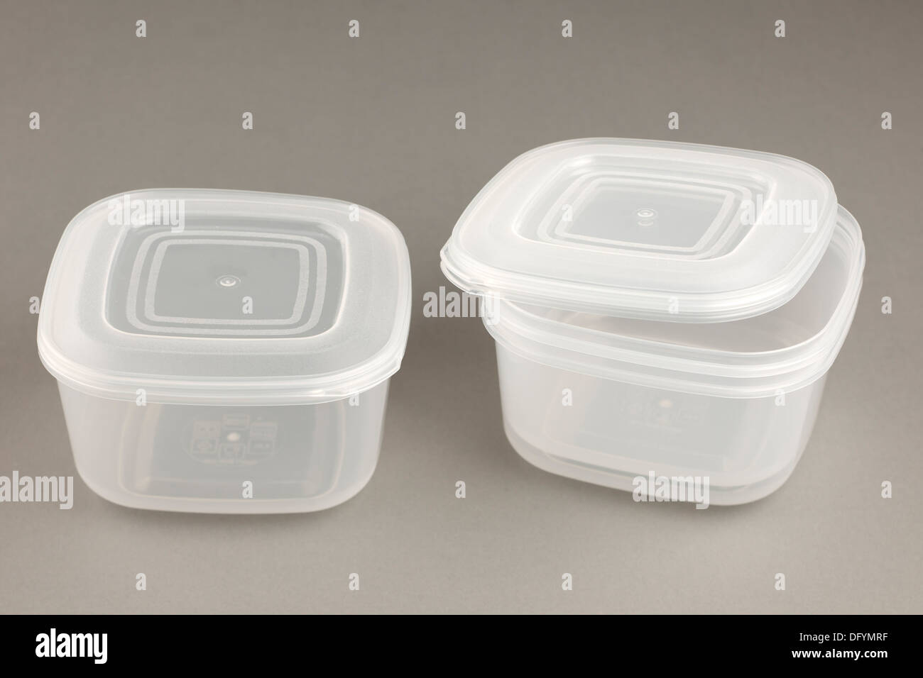 Set of three plastic food containers with sealable lids Stock Photo