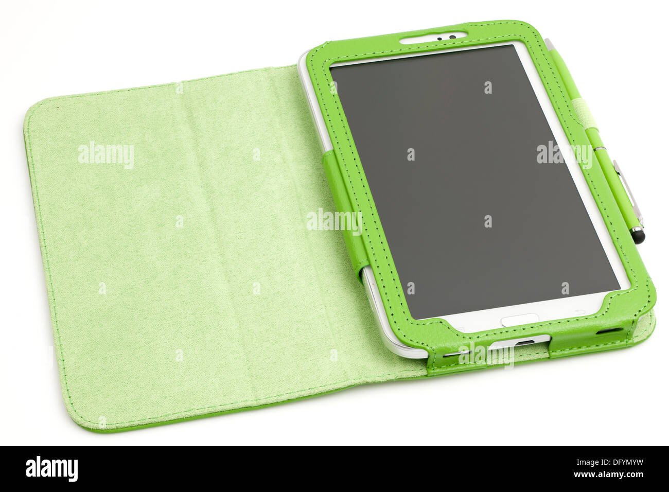 Samsung Galaxy 7 inch Tab 3 tablet with protective case and pen - Stock Image