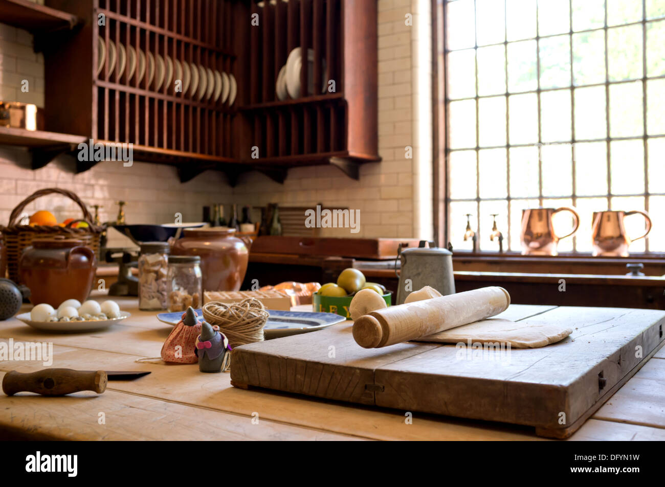 Rustic country style kitchen with cooking utensils. Stock Photo