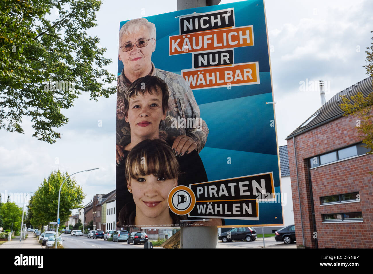 Pirates party election poster , Monchengladbach, Germany - Stock Image