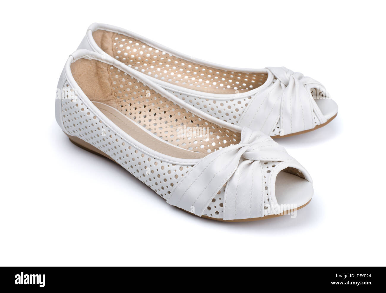 white leather womens shoes isolated