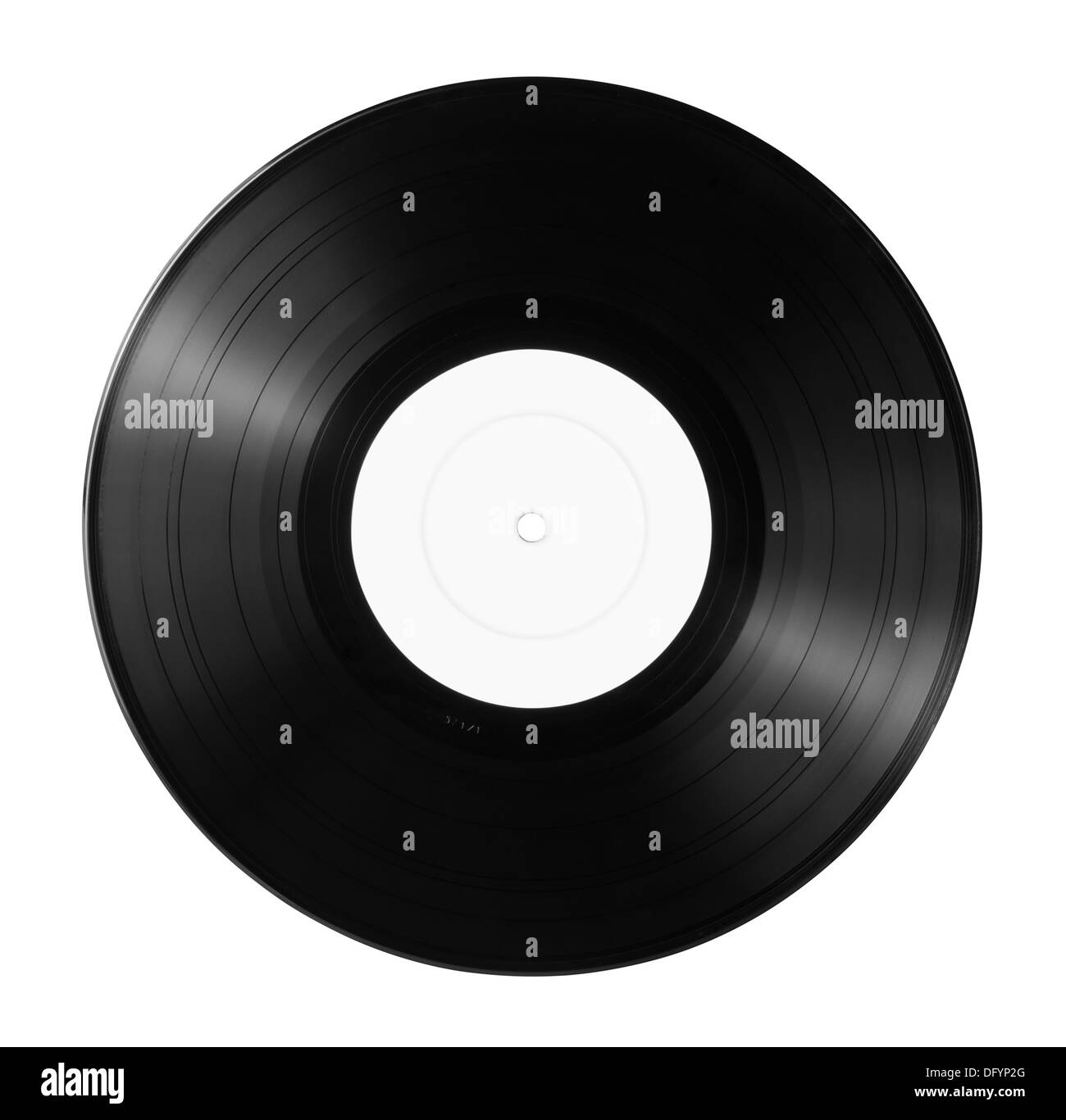 New vinyl record with empty label isolated on white - Stock Image