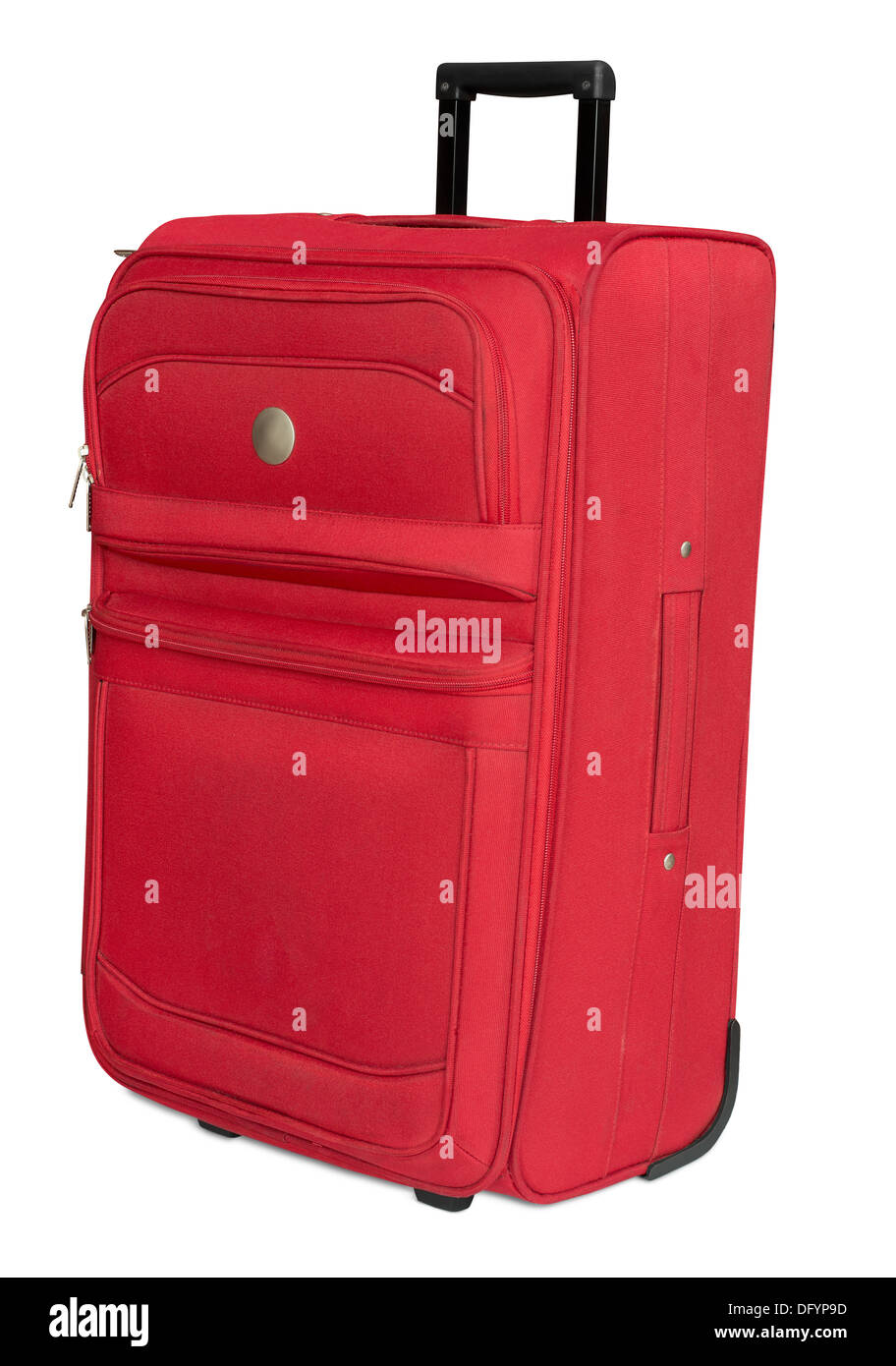 Red textile suitcase isolated on white - Stock Image