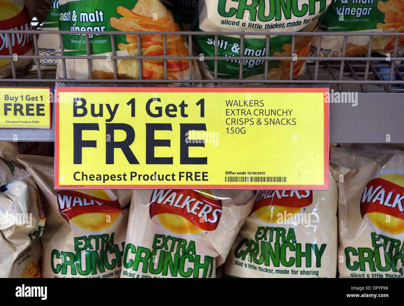 a buy 1 get 1 free sign in a tesco supermarket - Stock Image