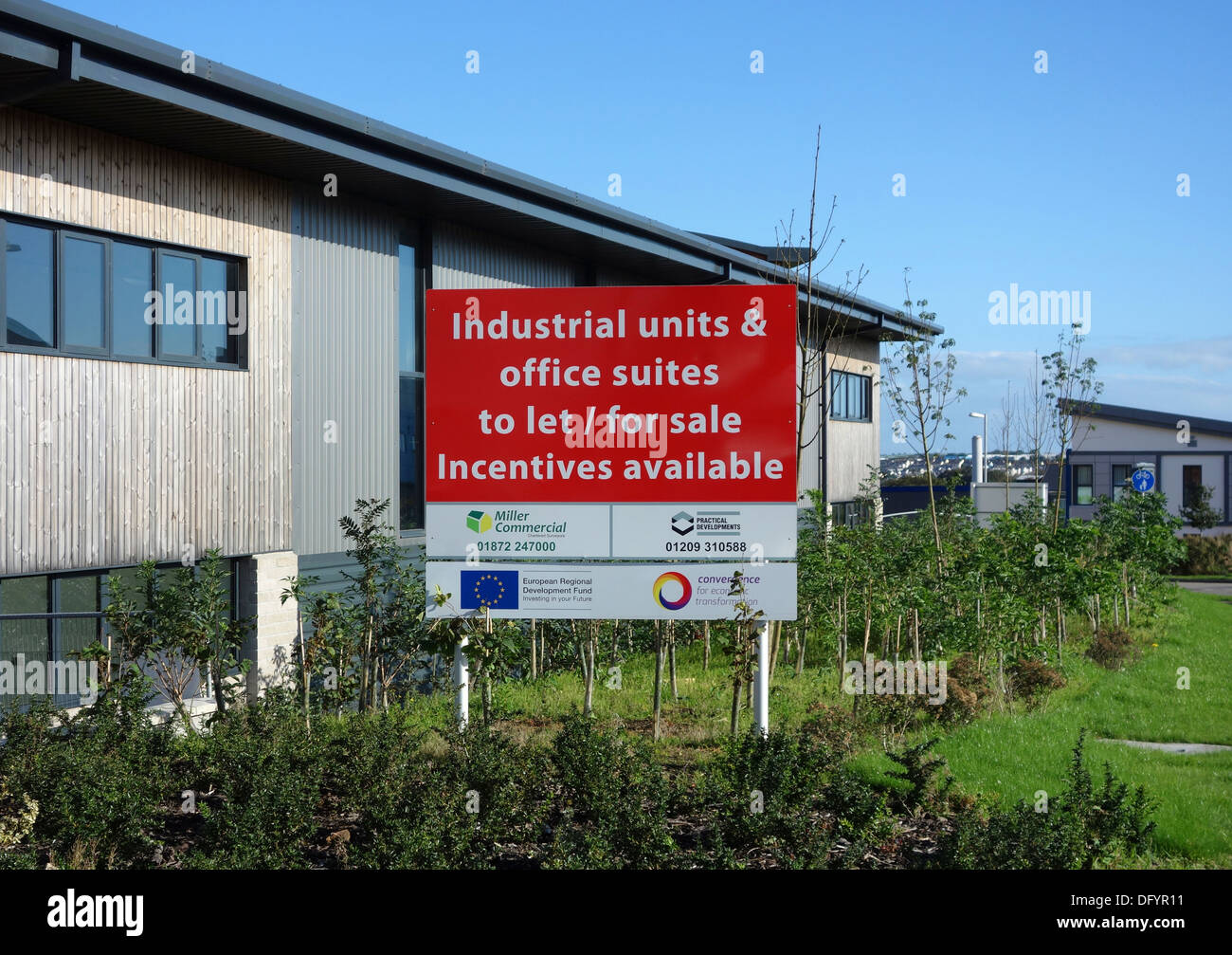 Industrial units and offfices to let on a new development in redruth, cornwall, uk - Stock Image