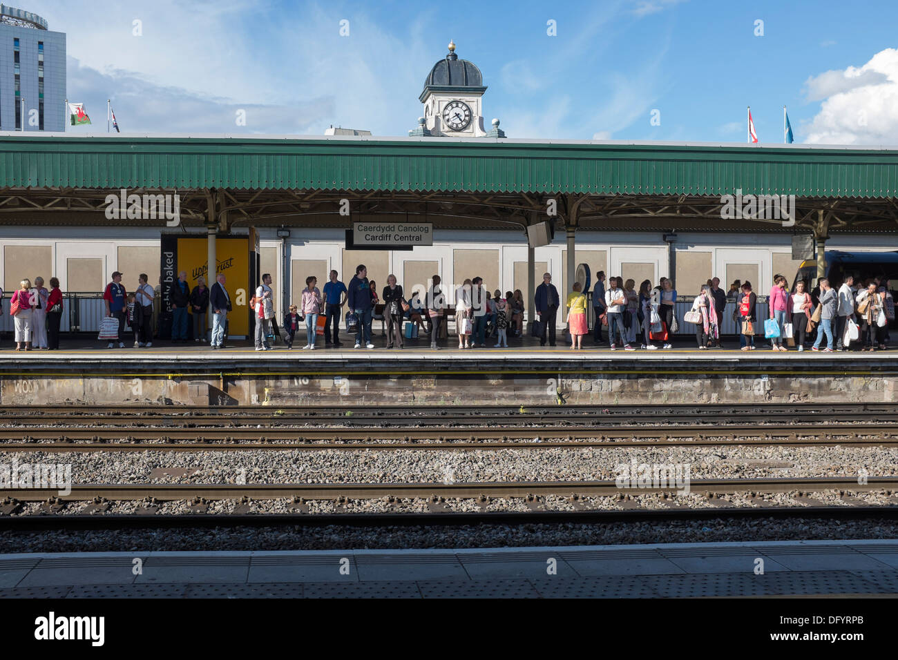 Crowded Platform at Cardiff Central Railway Station - Stock Image