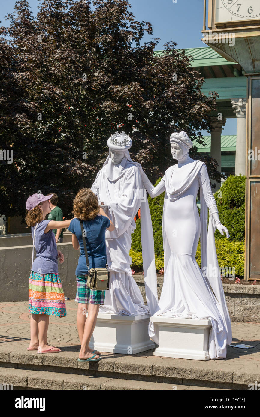 Living Statues, Great New York State Fair, Syracuse. - Stock Image