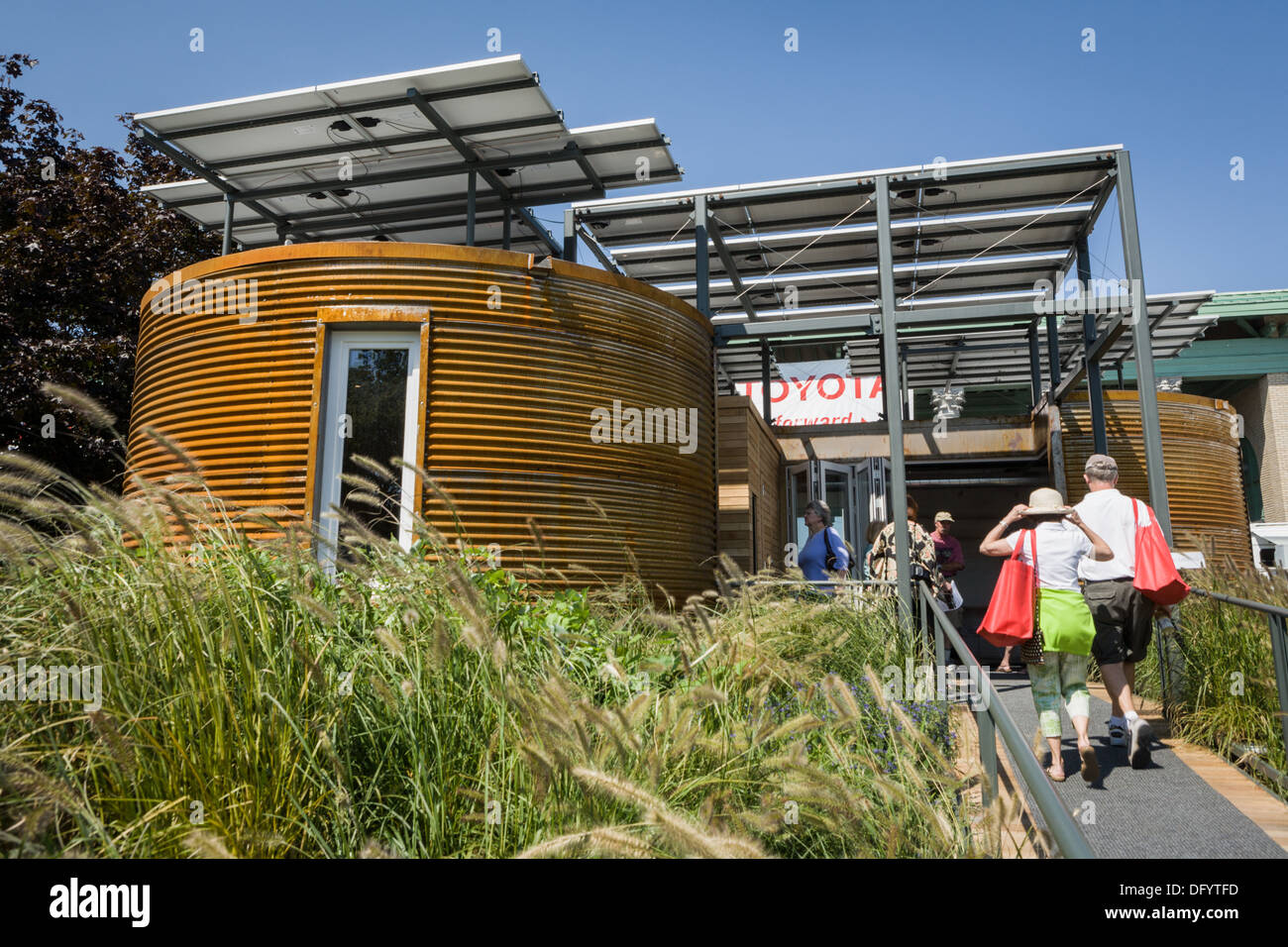 Energy efficient experimental house designed and built by Cornell students, Great New York State Fair, Syracuse. - Stock Image