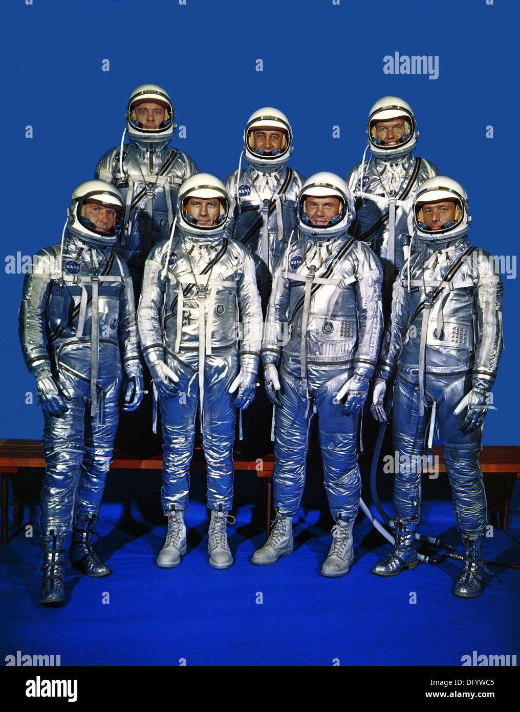 The group portrait of the original seven astronauts for the Mercury Project  April 27, 1959 in Houston, TX. Left Stock Photo