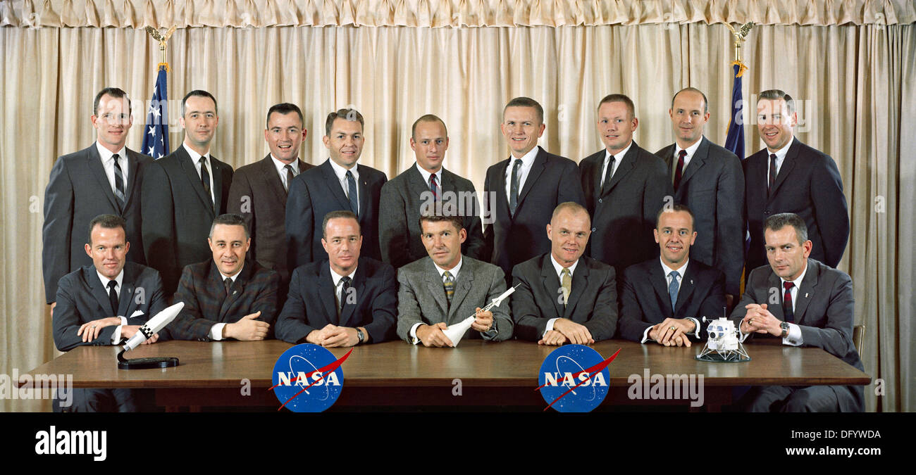 Group portrait of the first two groups of astronauts selected NASA. The original seven Mercury astronauts seated Stock Photo