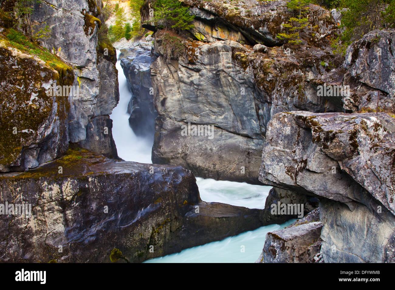 Narrow chasm of Nairn Falls, near Pemberton, British Columbia, - Stock Image
