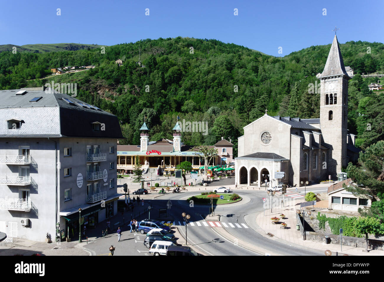 France, Ariege, Pyrenees - Ax-les-Thermes spa town and ski resort. View with Casino. Stock Photo