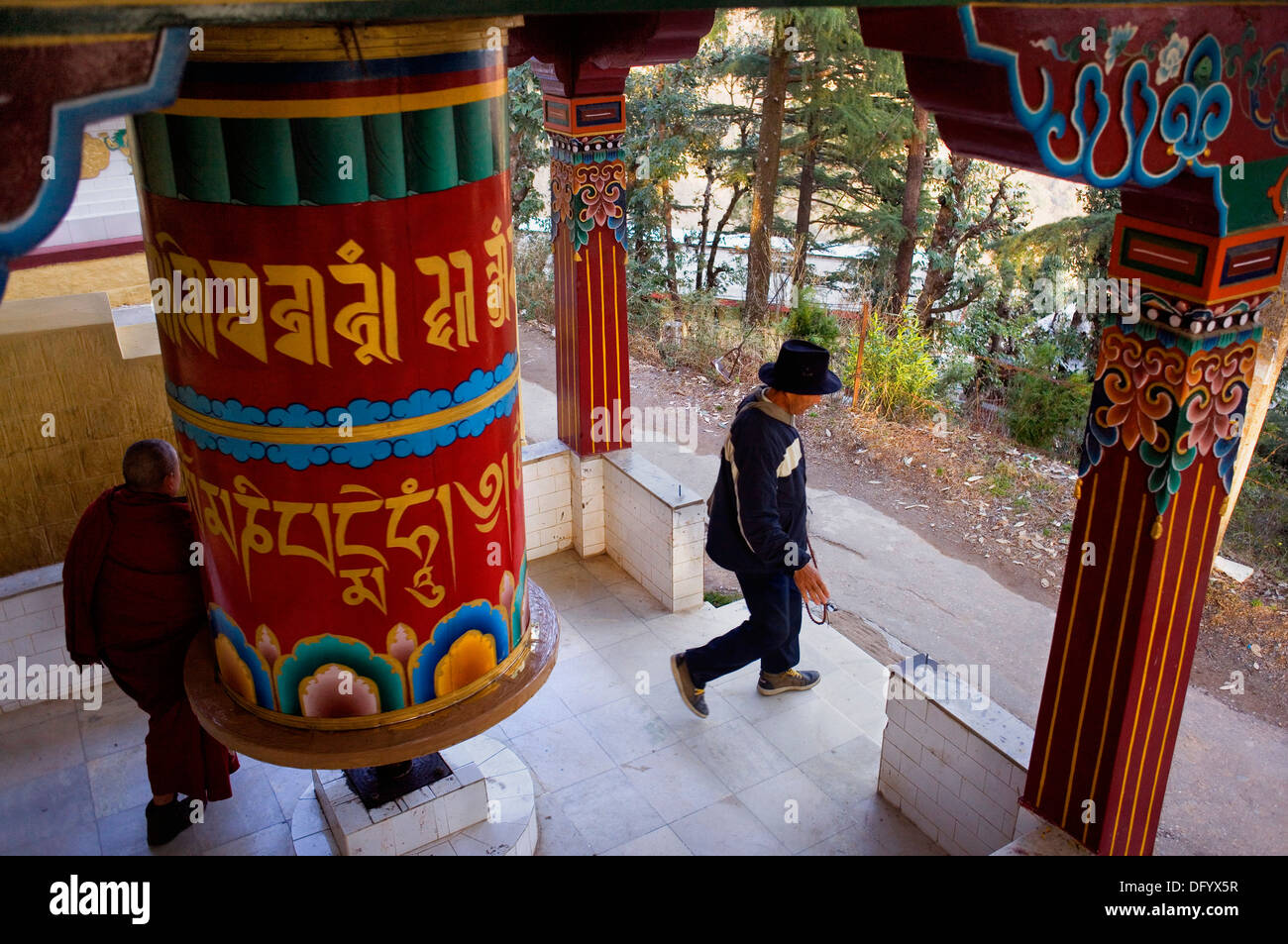 prayer wheel in Lhagyal Ri,near Tsuglagkhang complex,McLeod Ganj, Dharamsala, Himachal Pradesh state, India, Asia - Stock Image