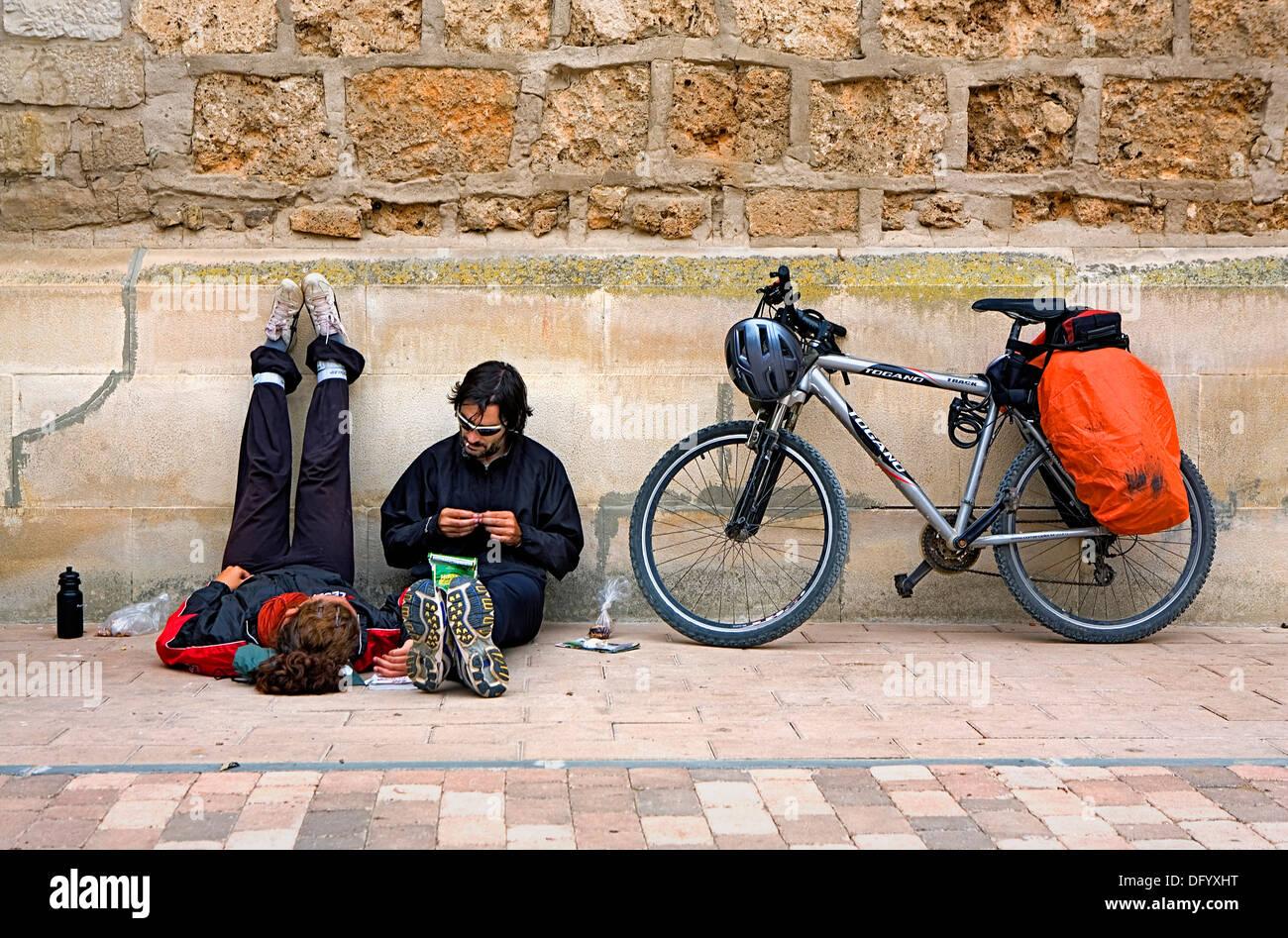pilgrims resting. Belorado. Burgos province.Spain. Camino de Santiago - Stock Image