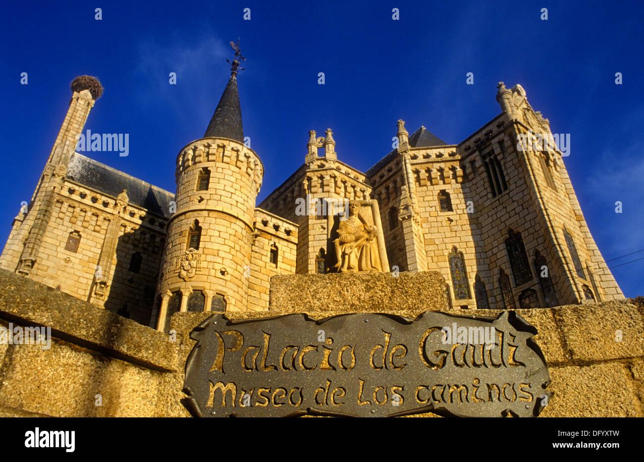 Palacio Episcopal, by Gaudi. Astorga. León province. Spain. Camino de Santiago - Stock Image