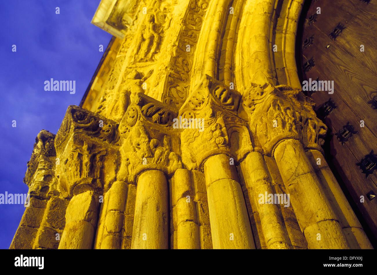 Santiago church. `Portada del perdón´. Villafranca del Bierzo. León province. Spain. Camino de Santiago - Stock Image