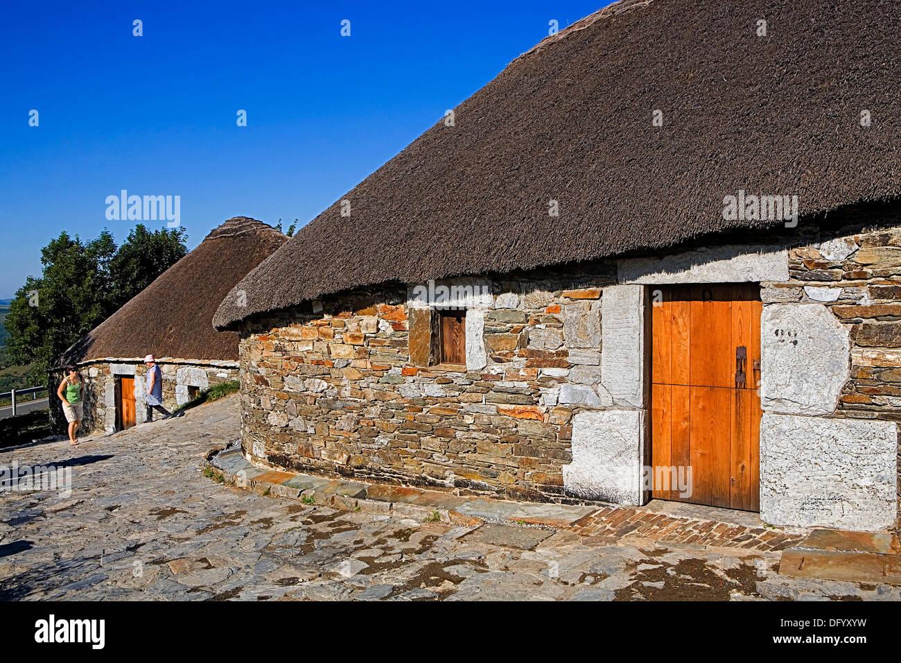 Pallozas, Traditional construction. O Cebreiro. Lugo province.Spain. Camino de Santiago - Stock Image