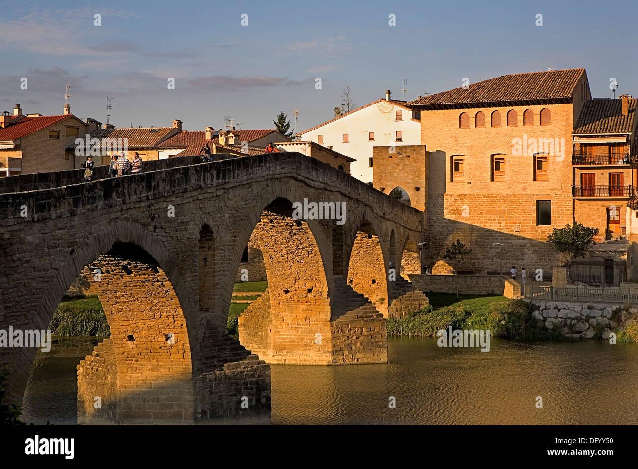 Medieval bridge. Puente la Reina. Navarra.Spain. Camino de Santiago - Stock Image