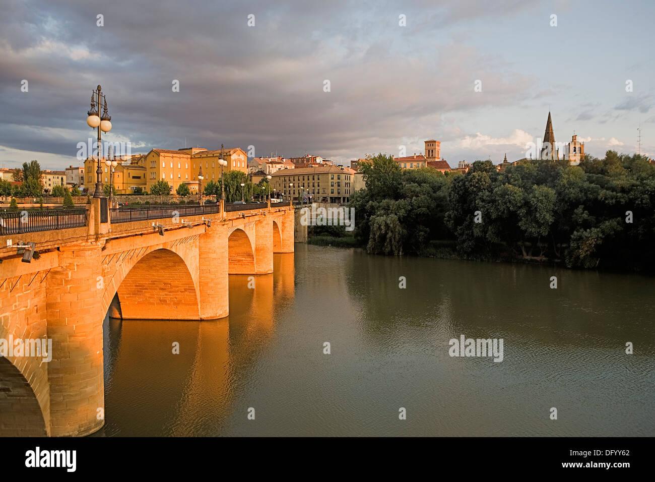 `De Piedra´ bridge. Logroño. La Rioja.Spain. Camino de Santiago - Stock Image
