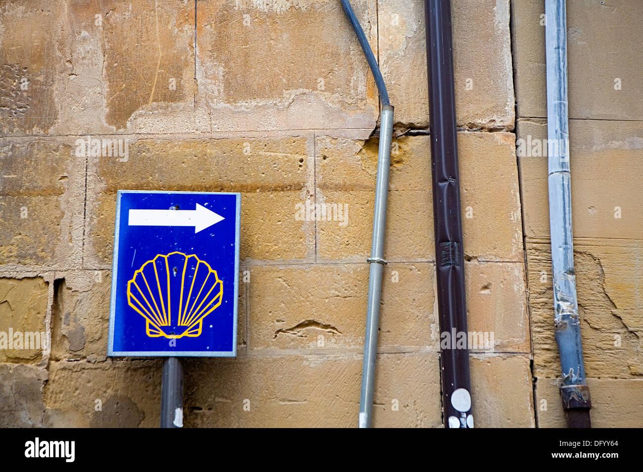 Calle Mayor.Sign of Camino de Santiago.Santo Domingo de la Calzada. La Rioja.Spain. Camino de Santiago - Stock Image