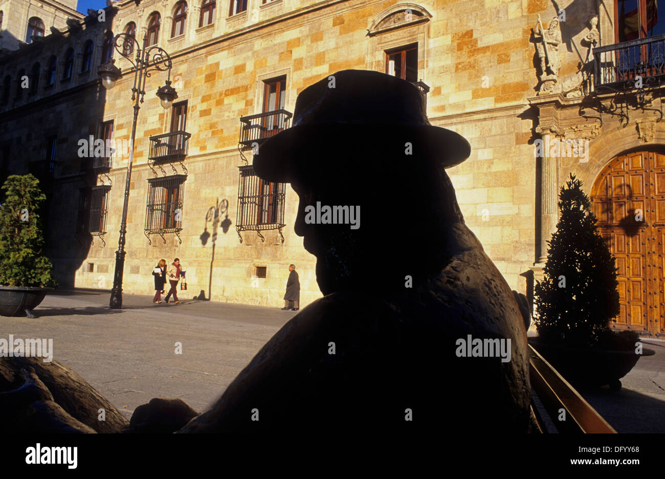 Monument to A. Gaudi. In front of Casa de los Botines.León. Spain. Camino de Santiago - Stock Image