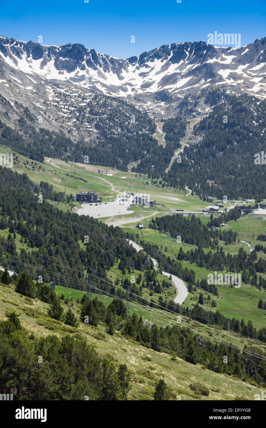 Andorra - Pas de la Casa, route from France. Landscape view with snow in midsummer. - Stock Image