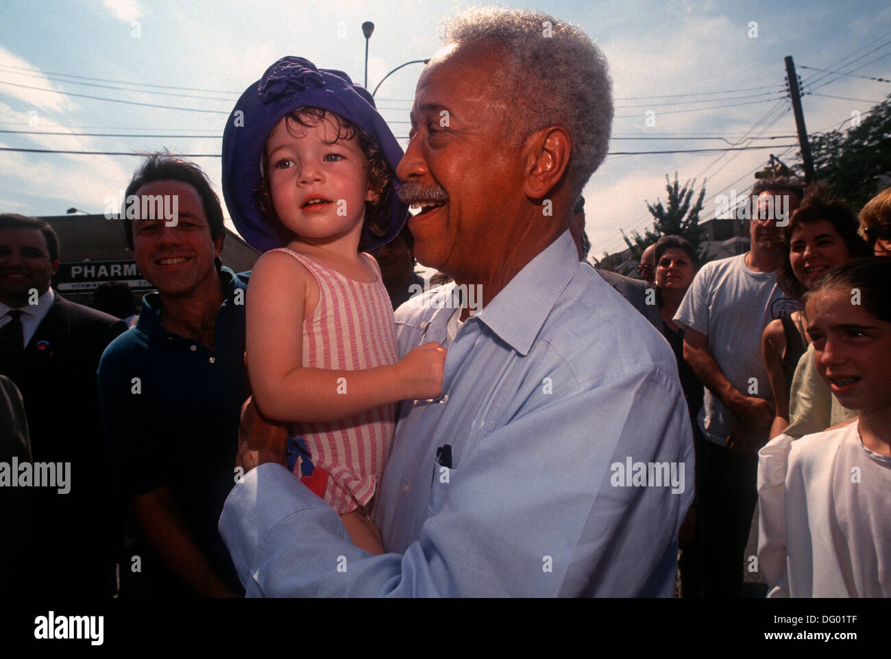 Riverdale, Bronx New York - August 1993 - NYC Mayor David N DInkins campaigns for a second term. - Stock Image