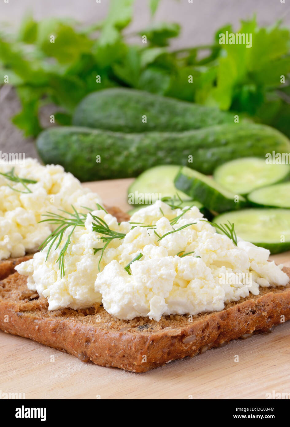 Sandwiches with curd cheese and cucumber slices - Stock Image
