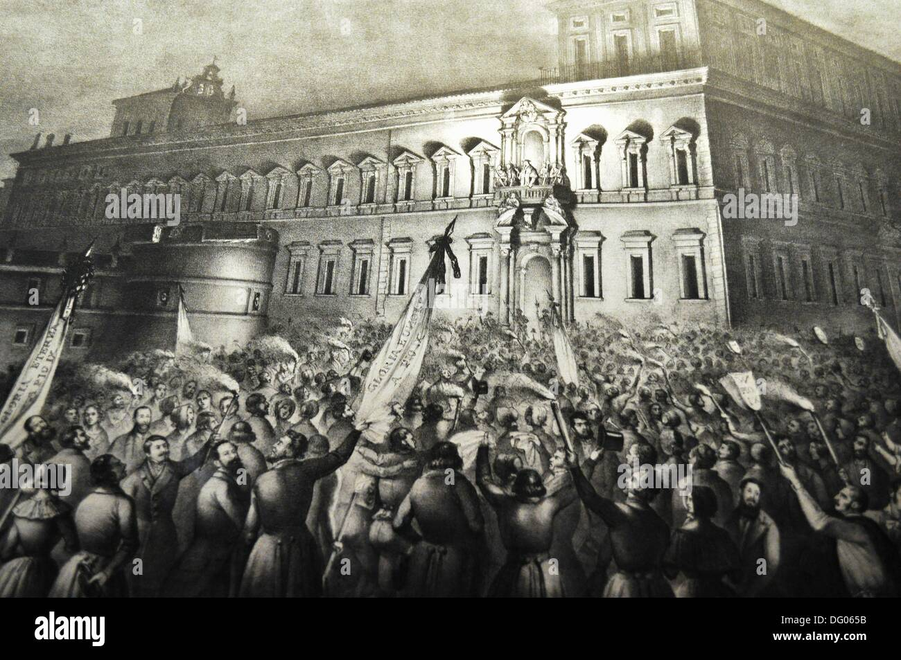 Bologna (Italy): old print depicting a scene of the Italian independence from Austria, displayed during an exhibition at - Stock Image