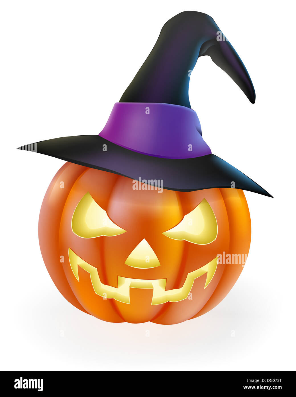 Halloween Cartoon Witch Face.A Drawing Of A Cartoon Halloween Pumpkin With Classic Scary Face