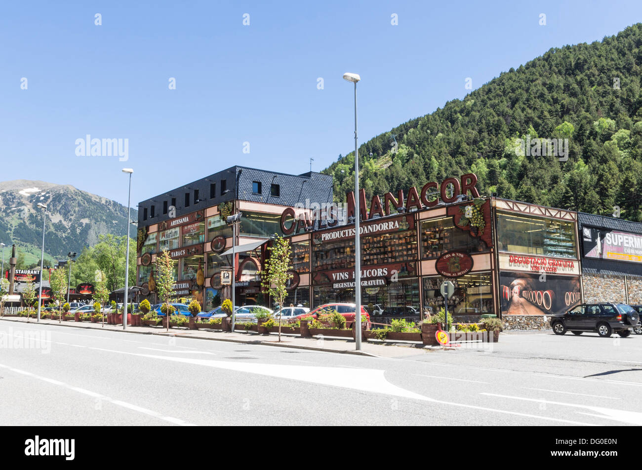 Andorra - duty free shopping on the road into France. - Stock Image
