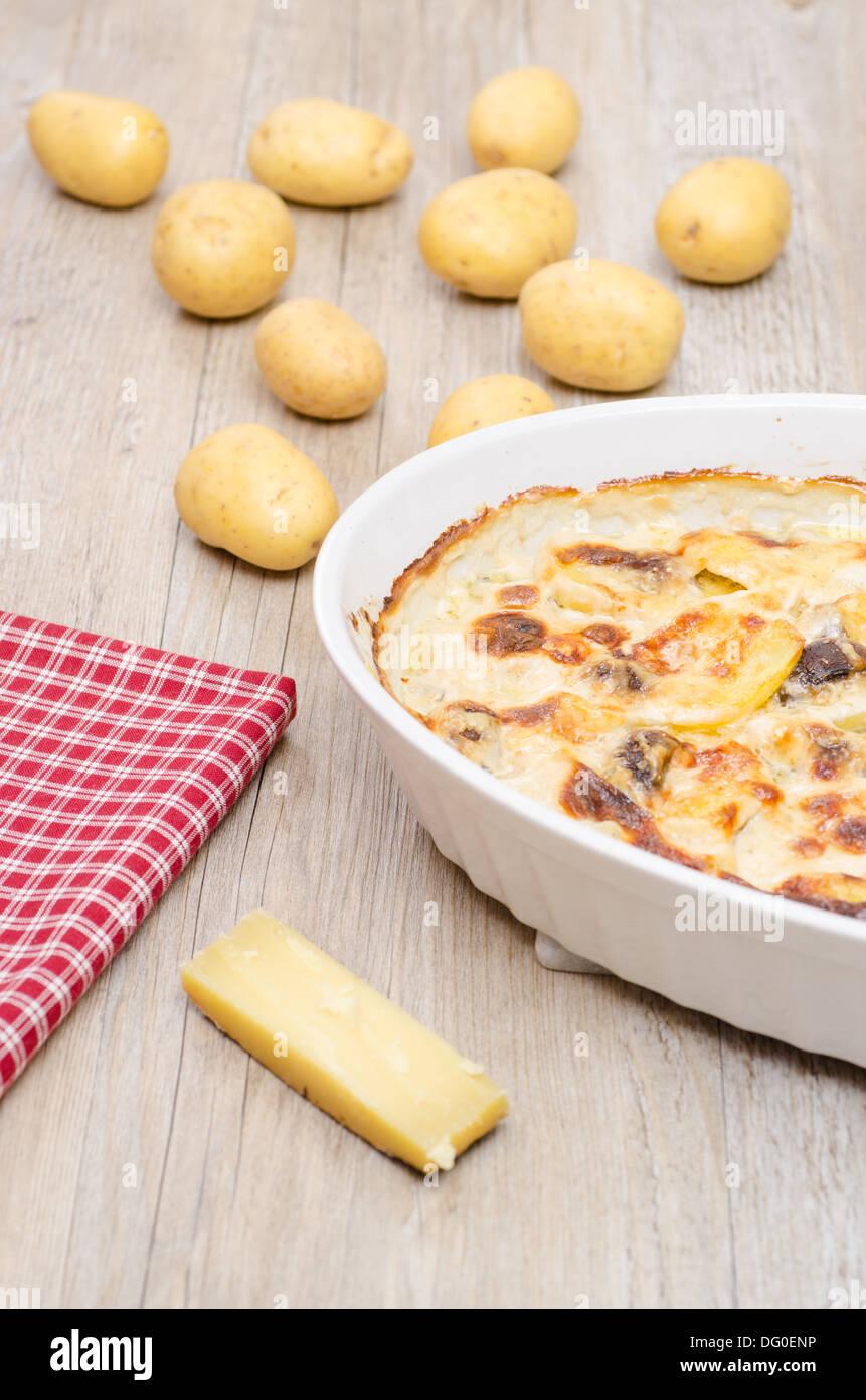 Potato gratin gratinated with gruyere cheese and cream - Stock Image